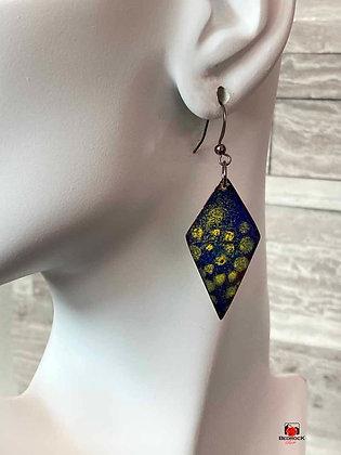 Blue & Yellow Enamel Earrings Diamond Shaped