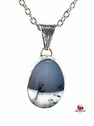 Merlinite Sterling Silver Snowscape Pendant