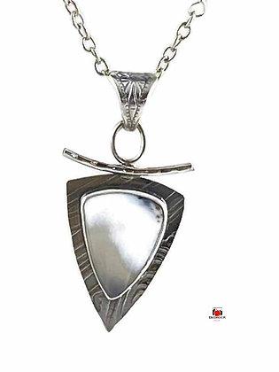 Merlinite Trillion Sterling Silver Pendant
