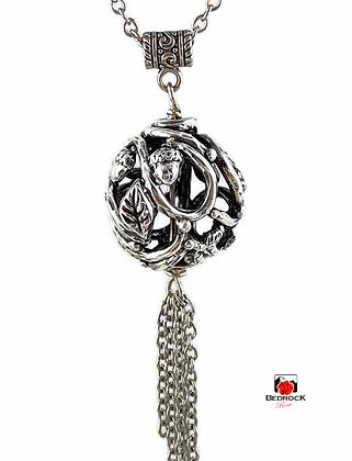 Silver Vine Acorn and Leaves Hollow Pendant