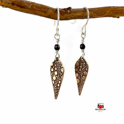 Rose Bronze Arabesque Bubbly Texture Dangling Earrings