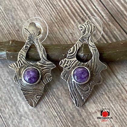 Sterling Silver Arabesque Purple Charoite Post Earrings