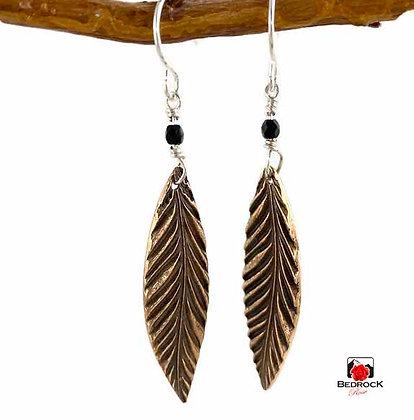 Sleek Rose Bronze Feather Dangling Earrings