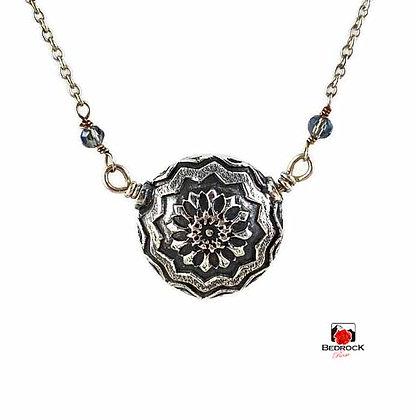 Silver Mandala Lentil Bead Necklace