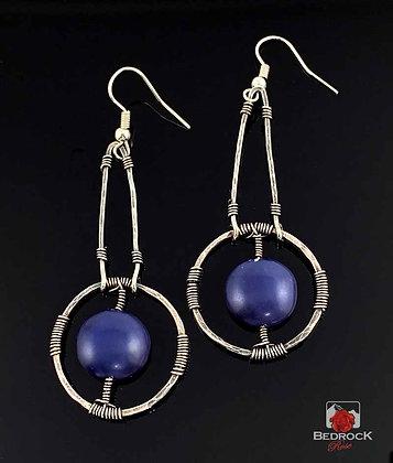 Navy Blue Focal in Fine Silver Dangle Earrings