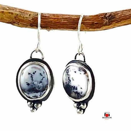 Merlinite Gemstone Sterling Silver Dangling Earrings
