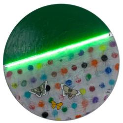 3 Butterflies Green with Green Neon