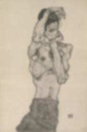 "Egon Schiele ""Self Portrait in Red Loincloth"
