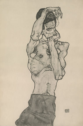 "Egon Schiele ""Self Portrait in Red Loincloth"