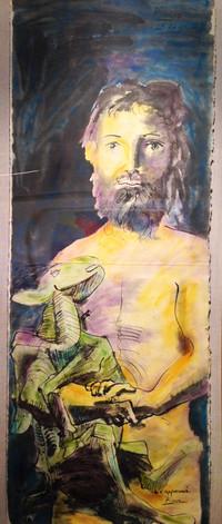 Picasso Man with Lamb Closeup