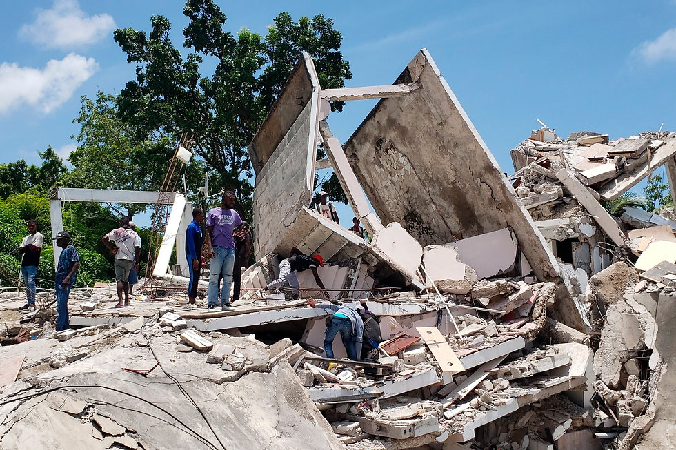 A home in Les Cayes damaged in Saturday's earthquake. Credit Delot Jean, Associated Press.