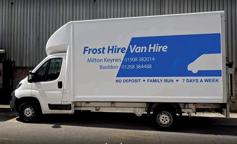 Frosts van hire white Luton van