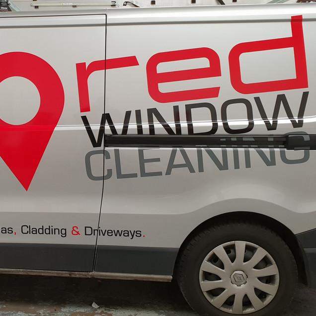 Red Window Cleaning van