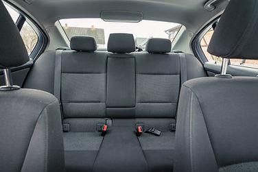 Interior of premium sedan car. Salon wit