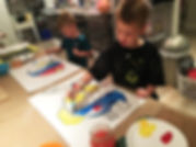 kids painting and coloring