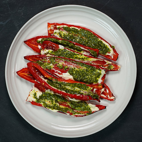 Romano Peppers, Whipped Feta & Pesto