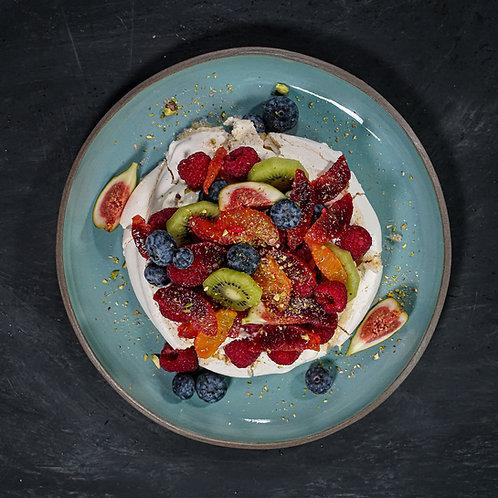 Pavlova of Berries, Kiwi & Blood Orange
