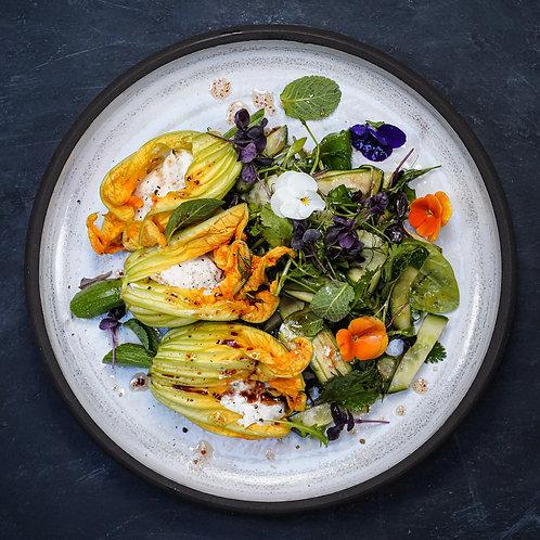 Rhubarb & Blood Orange Ricotta Stuffed Courgette Flowers, Garden Salad of Greens