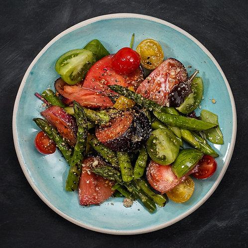 Grilled Kent Asparagus & Winter Tomato Salad, Dukkah