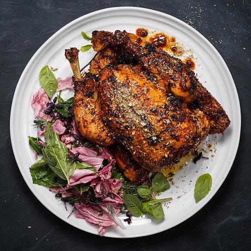 Almond Dukkah & Paprika Roast Chicken, Pink Radicchio & Leafy Herb Salad