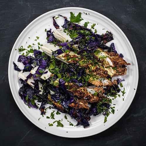 Wedges of Roasted Purple & Napa Cabbage, Lemon & Herbs