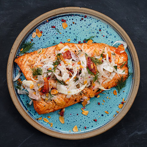 Baked Salmon, Fennel & Blood Orange Garnish, Paprika Almonds