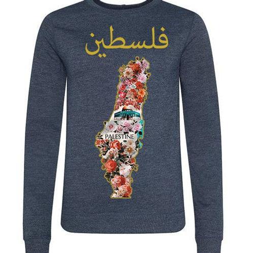 Womens Palestine Flower Longsleeve Tee