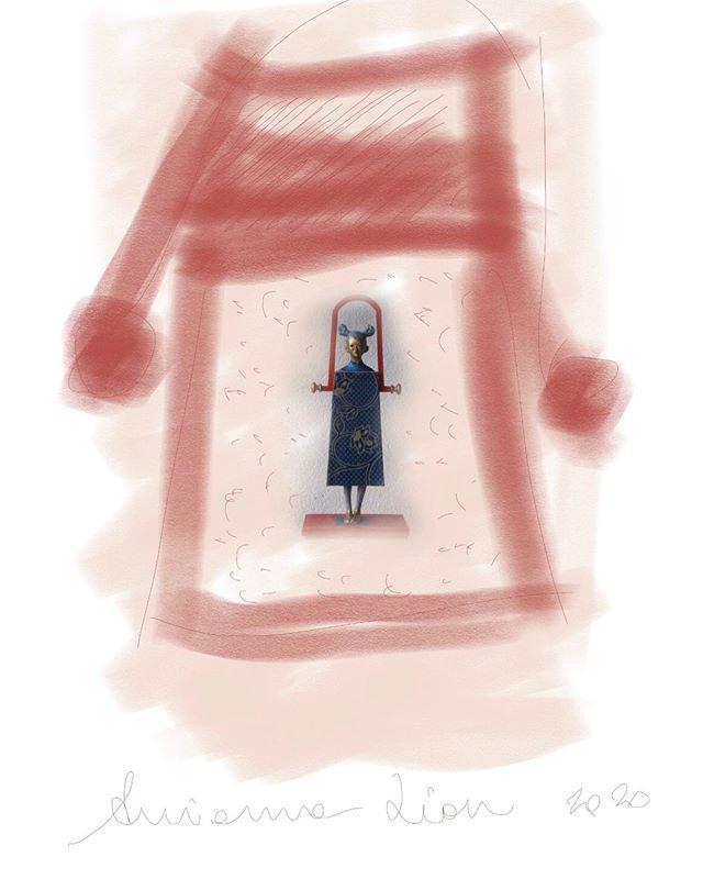 Donna borsa disegno digitale di Arianna
