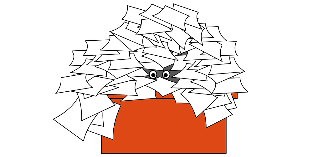 Cartoon drawing of a desk covered in papers with two eyes peeking out