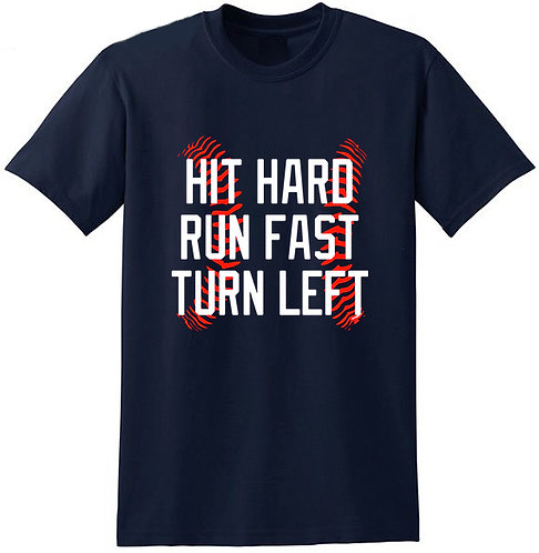 Mens - Hit Hard...with Baseball Image - Cotton Baseball T-Shirt