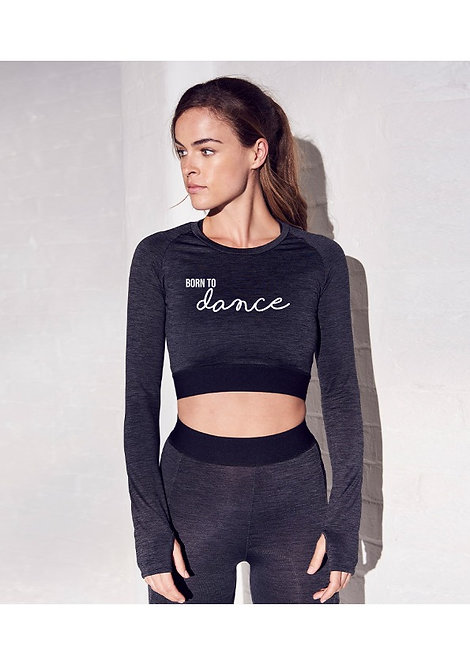 Adult 'Born to Dance' Long Sleeve Cropped Top