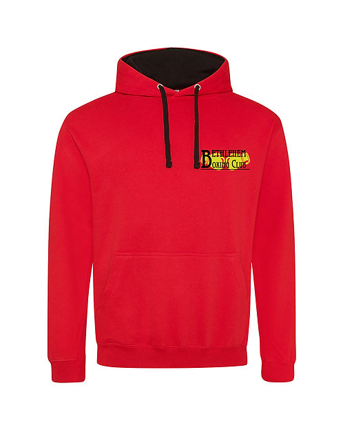 Mens Contrast Hoodie - Black & Yellow Logo - Small Logo Only