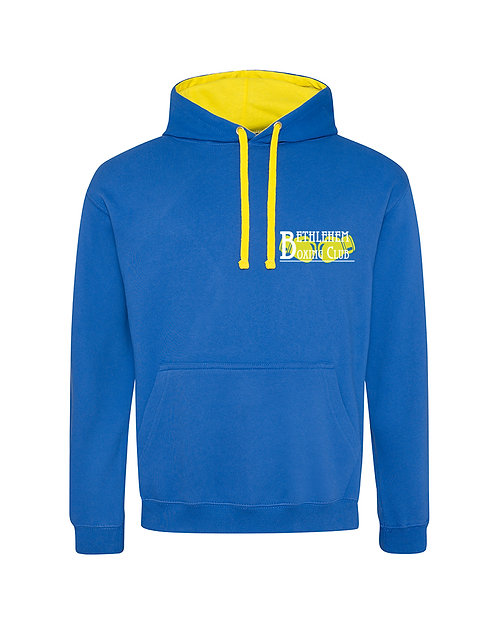 Mens Contrast Hoodie - White & Yellow Logo - Small Logo Only