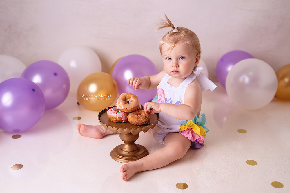 1st bday photo session cake smash donats