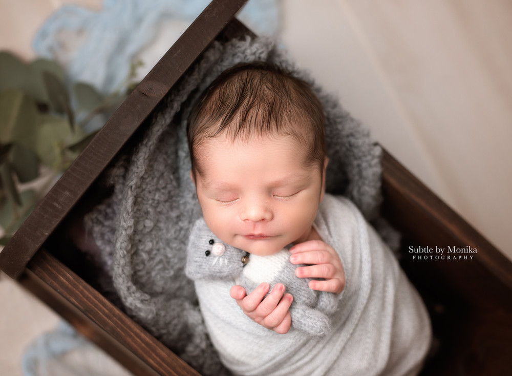 newborn boy photo session cute setup holding bear NJ photographer