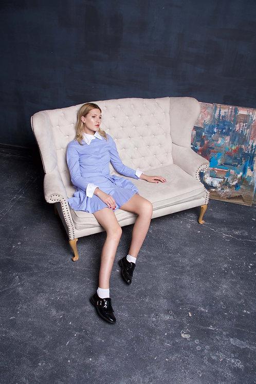 Striped cotton-poplin mini dress