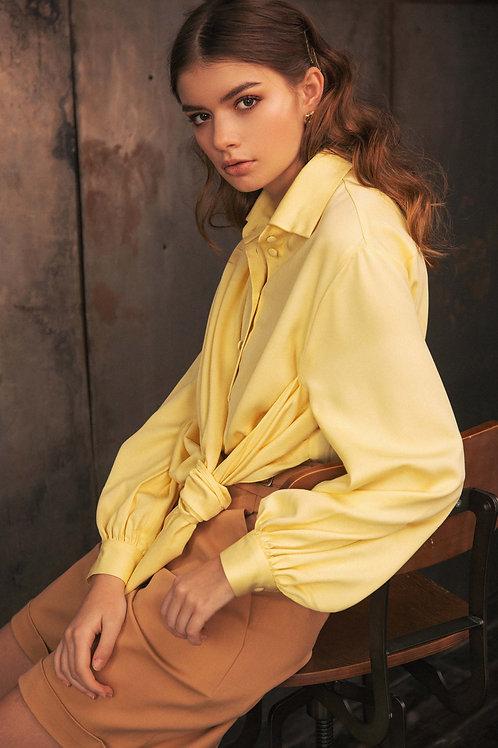Draped yellow blouse