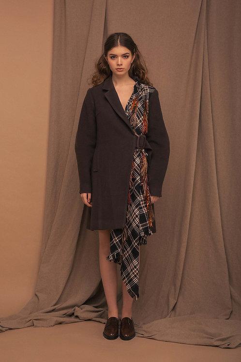 Asymmetric draped coat