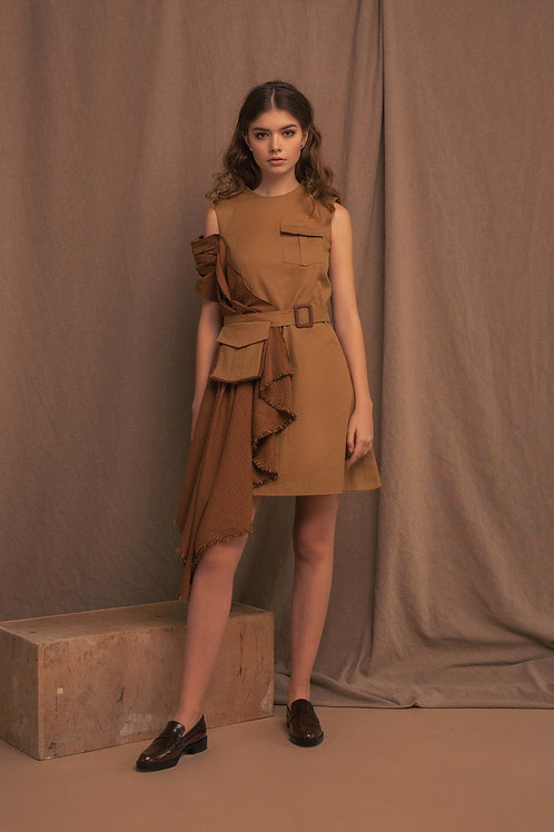 Cotton dress with draped details