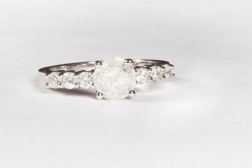 Large Diamond adorned with smaller Diamond Ring