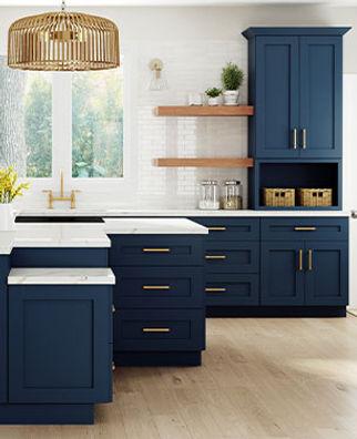 Blue shaker cabinets