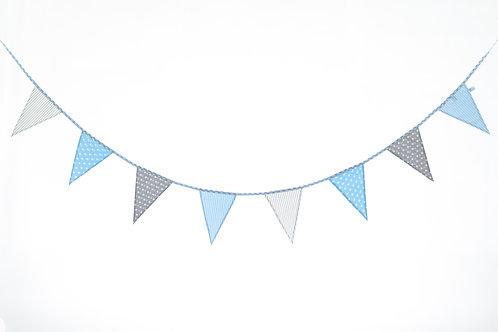 Girlande Blau & Grau & Beige