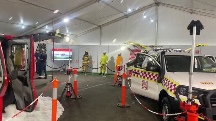 Vic Counrty Fire Authority Corporate Marquee - 23 Professional HD TV's provided with Titan AV stands.