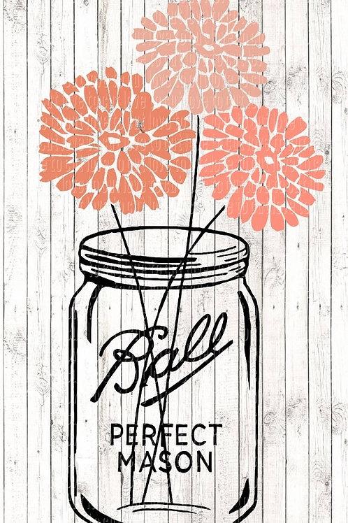 Ball Mason Jar & Flowers