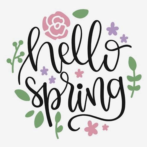 """Hello Spring 15"""" Round Sign"""