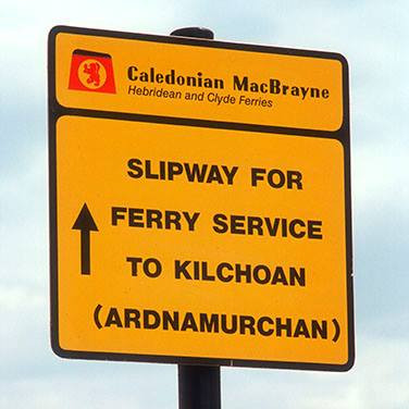 Sign showing slipway for Ardnamurchan ferry service. Image courtesy of Visit Scotland
