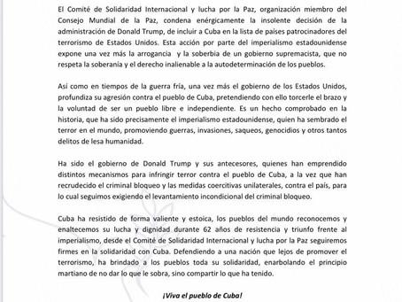Declaración de Solidaridad con Cuba
