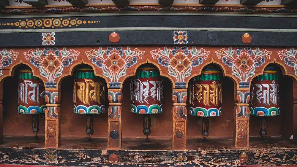 Bhutan Brown Wooden Framed Blue and Green Glass Door