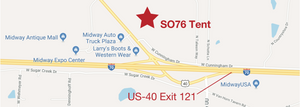 Map showing how to get to the Spirit of '76 tent. Take exit 121 off of I-70. The tent is located at 6401 US-40. For more information call 573-447-1776