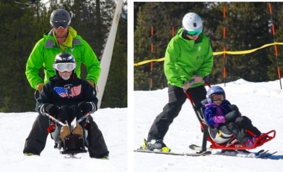 Instructors with participants in sit-skis.